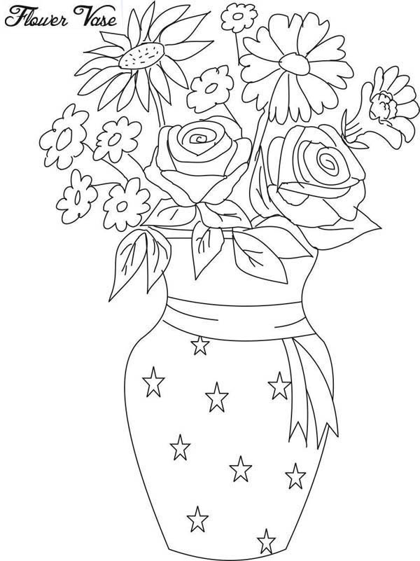 Drawing Flower Vase Coloring Page Coloring Sky