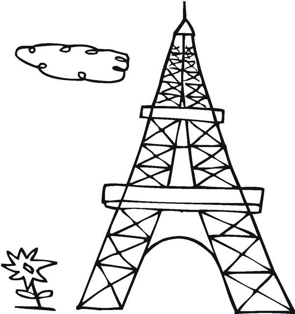 Drawing French Eiffel Tower Coloring Page Coloring Sky