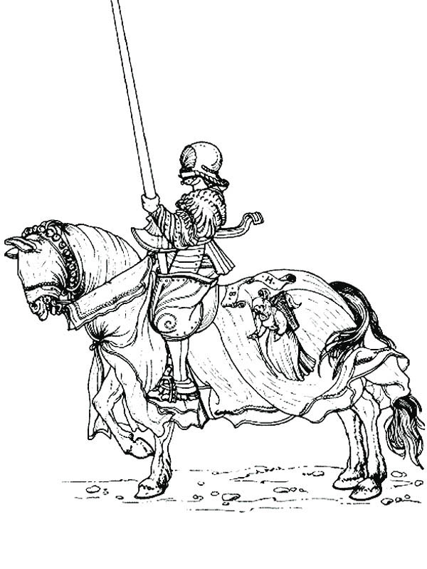 Knight, : Drawing Knight Coloring Page