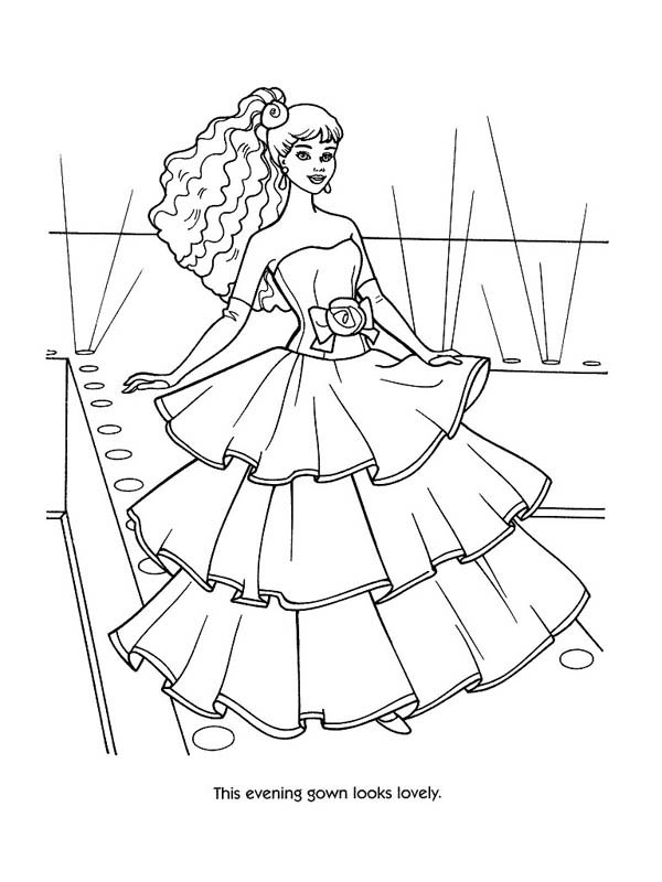Evening Gown Fashion Model Coloring Page Coloring Sky