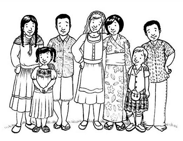 family gather from around the world coloring page