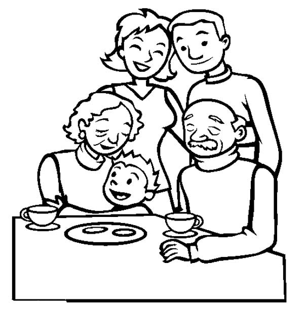 Family Gathering Coloring Page : Coloring Sky