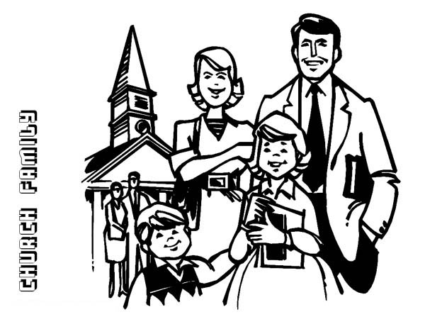 Family Going To Church Coloring Page : Coloring Sky