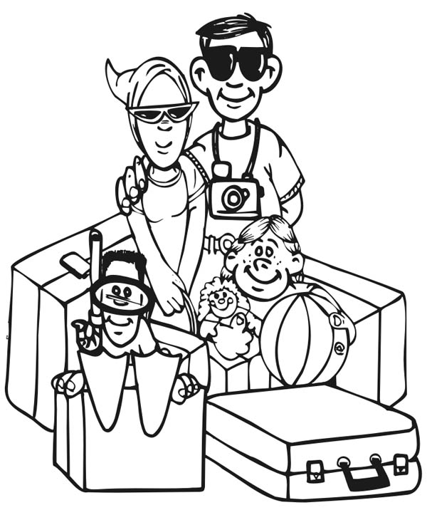Member Of Family Praying Together Coloring Page