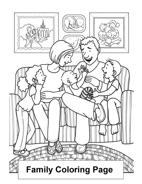 Happy Family in the Living Room Coloring Page | Coloring Sky