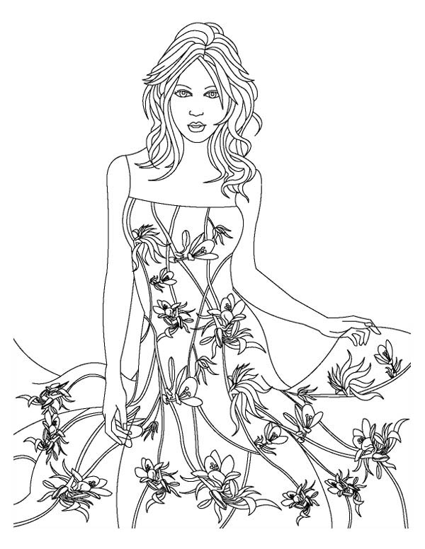 Fashion Model Wear Floral Theme Dress Coloring Page ...