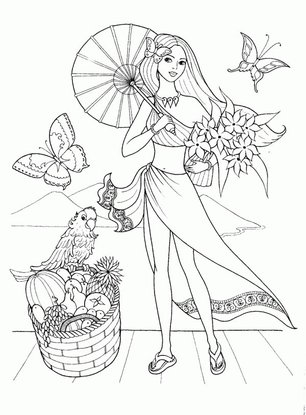 Fashion Model For Summertime Coloring Page Coloring Sky
