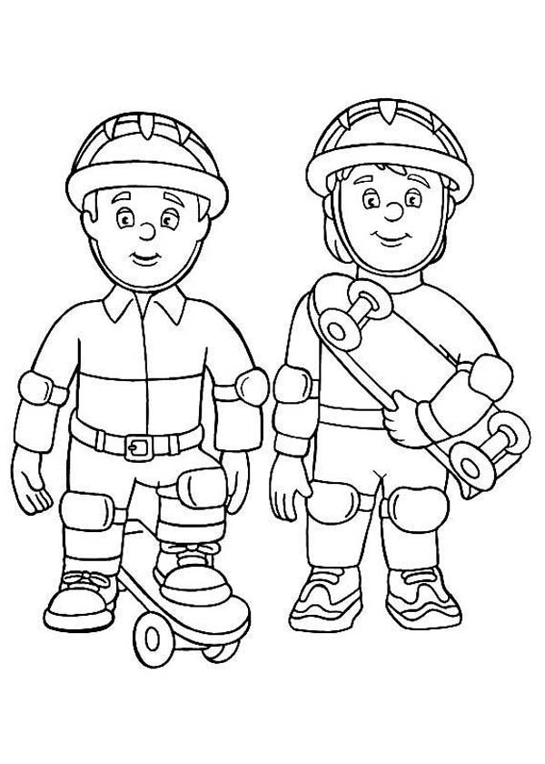 fire officer using skateboard at fireman sam coloring page