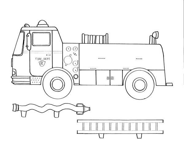 Fire Truck All Part Coloring Page : Coloring Sky