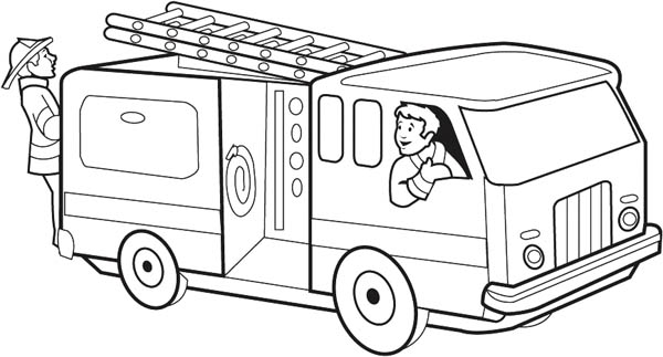 Firefighter Get O The Fire Truck Coloring Page Coloring Sky