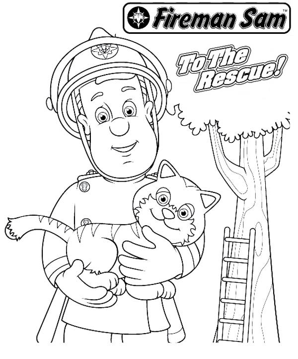 Firefighter Coloring Pages: Fireman Sam Rescueing Beautiful Cat From Tall Tree