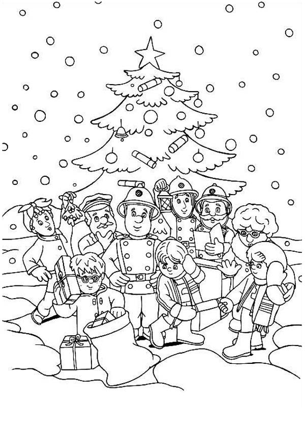 Fireman Sam On Christmas Coloring Page Coloring Sky