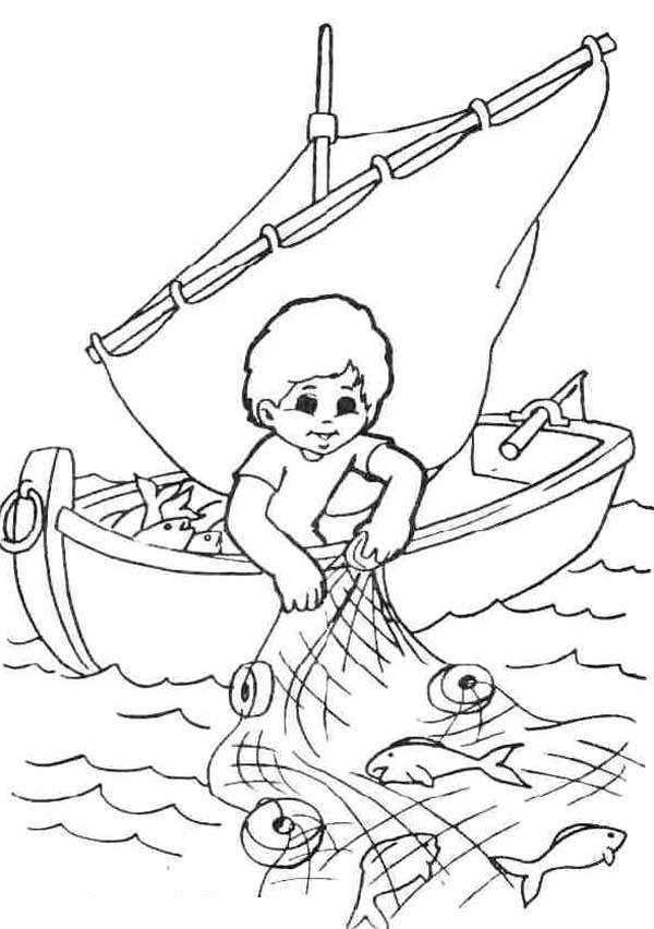 Fisherman Catching Fish With Fishing