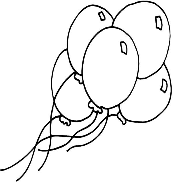 Five Shining Balloon Coloring Page : Coloring Sky