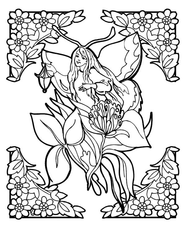 flower fairy from fantasy world coloring page coloring sky. Black Bedroom Furniture Sets. Home Design Ideas