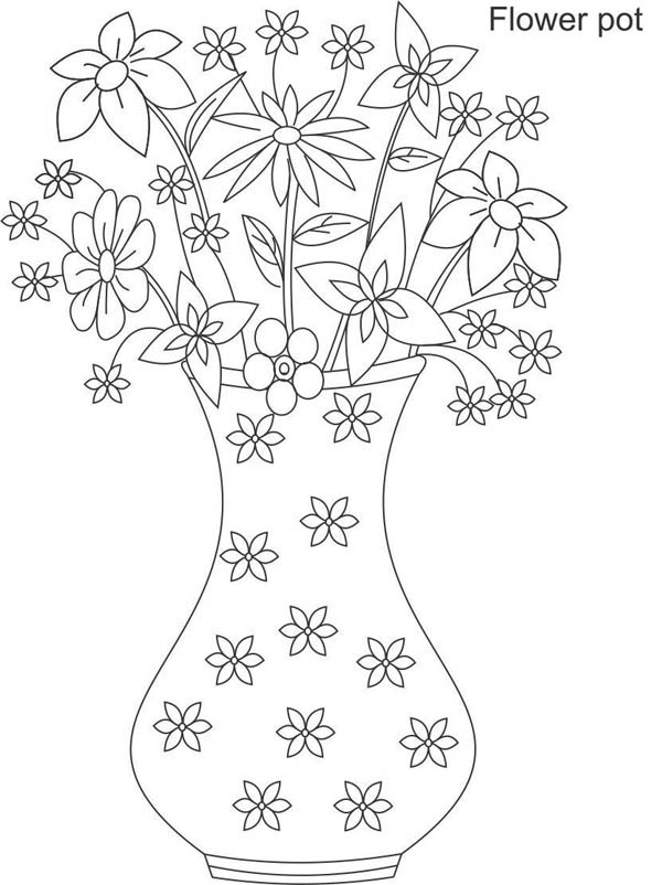Flower Vase Full Of Beautiful Flower Coloring Page
