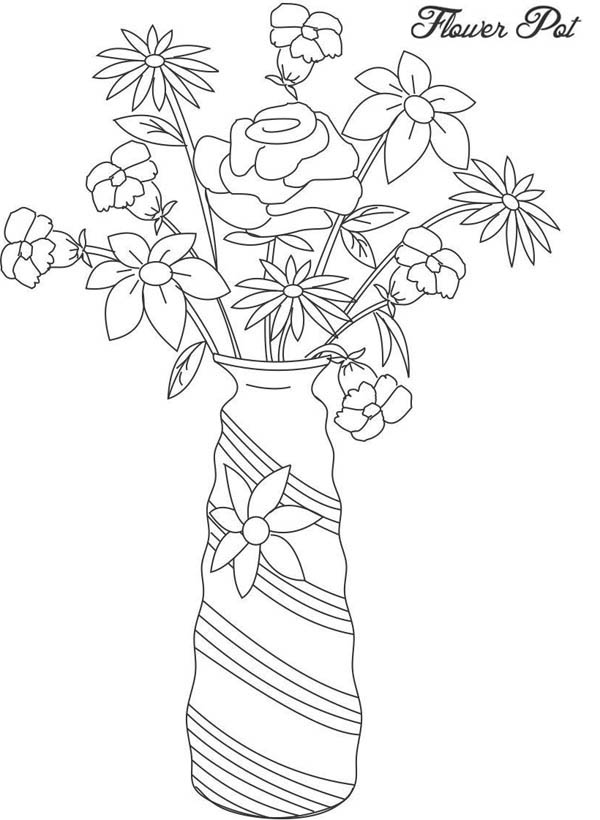 Flower Vase Picture Coloring Page | Coloring Sky on flower spring outline, hibiscus flower outline, flower book outline, flower planter outline, flower house outline, exotic flower outline, flower box outline, jar outline, flower print outline, flower sign outline, flower painting outline, flower white outline, flower cross outline, flower wall outline, flower plant outline, antique flower outline, flower garden outline, flower wreath outline, flower tree outline, grecian urn outline,