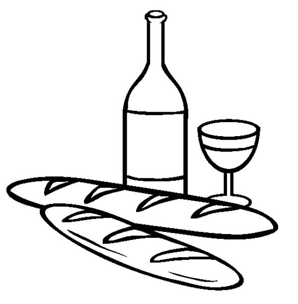 coloring pages wine food animals people | French Bread And Wine Coloring Page : Coloring Sky