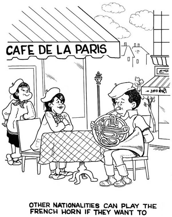 French, : French Cafe Coloring Page