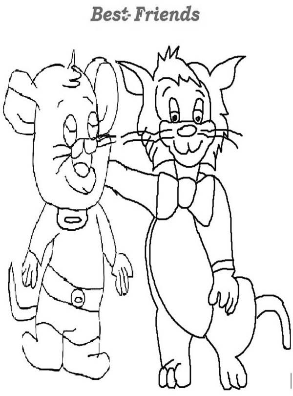 Friendship Between Cat And Mouse Coloring Page : Coloring Sky
