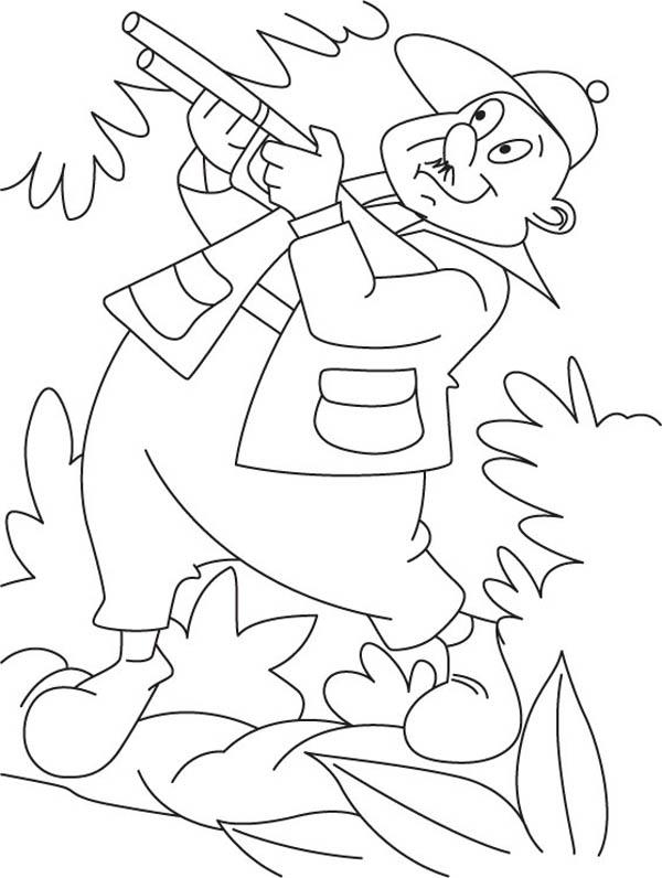 Hunter, : Funny Hunter Coloring Page