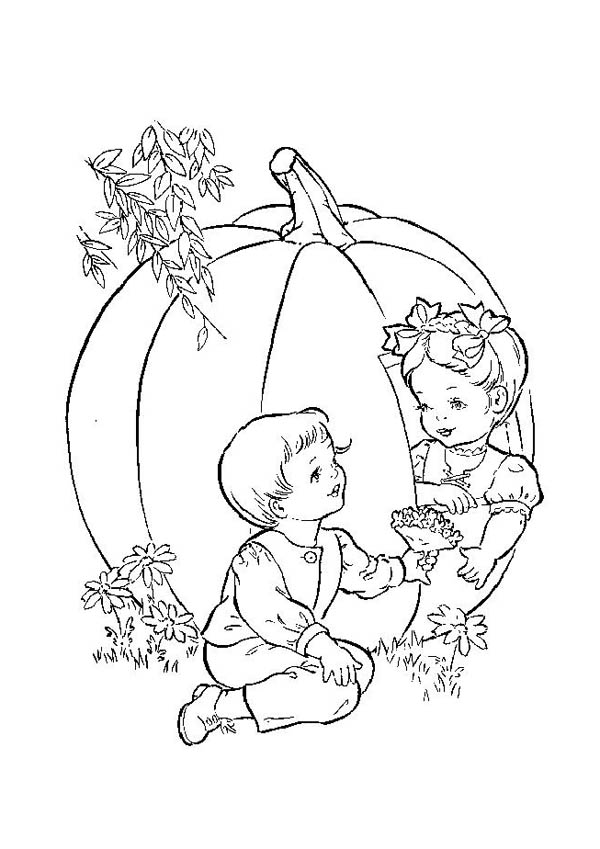 Giant Pumpkin From Farm Coloring Page : Coloring Sky