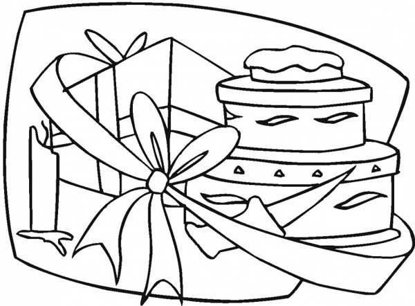 Gifts, : Gifts Box and Birthday Cake Coloring Page
