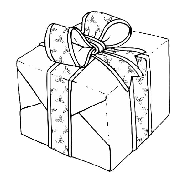 Gifts, : Gifts Winding with Beautiful Ribbon Coloring Page