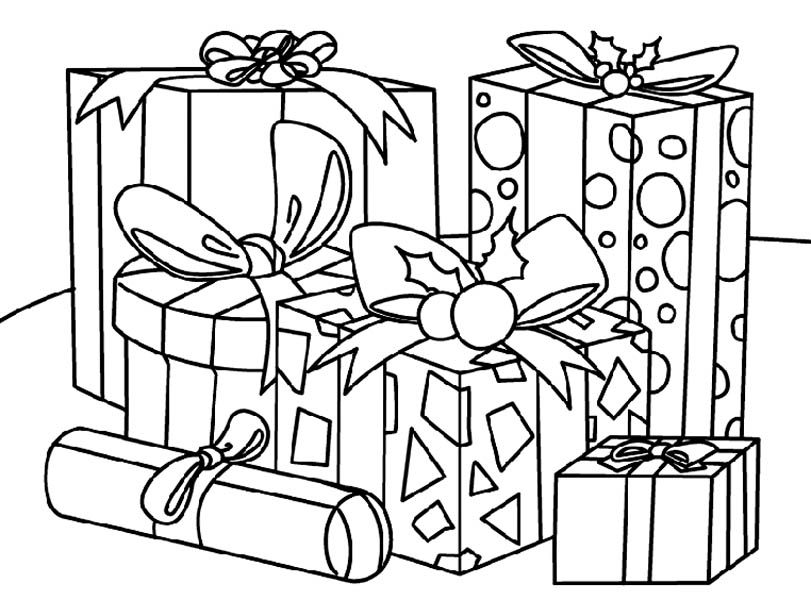 Картинки подарков для раскрашивания