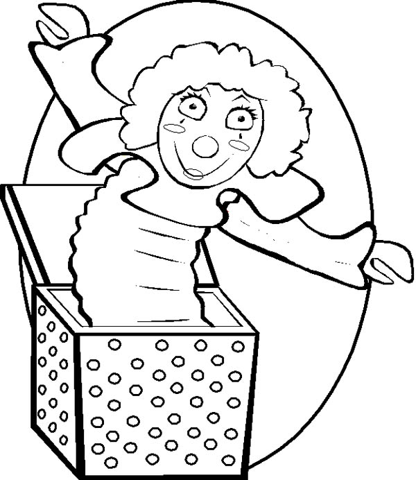 Jack in the Box, : Girl Jack in the Box Coloring Page