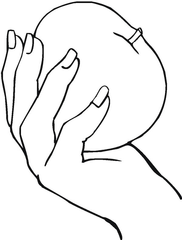 Hand Holding An Apple Coloring Page