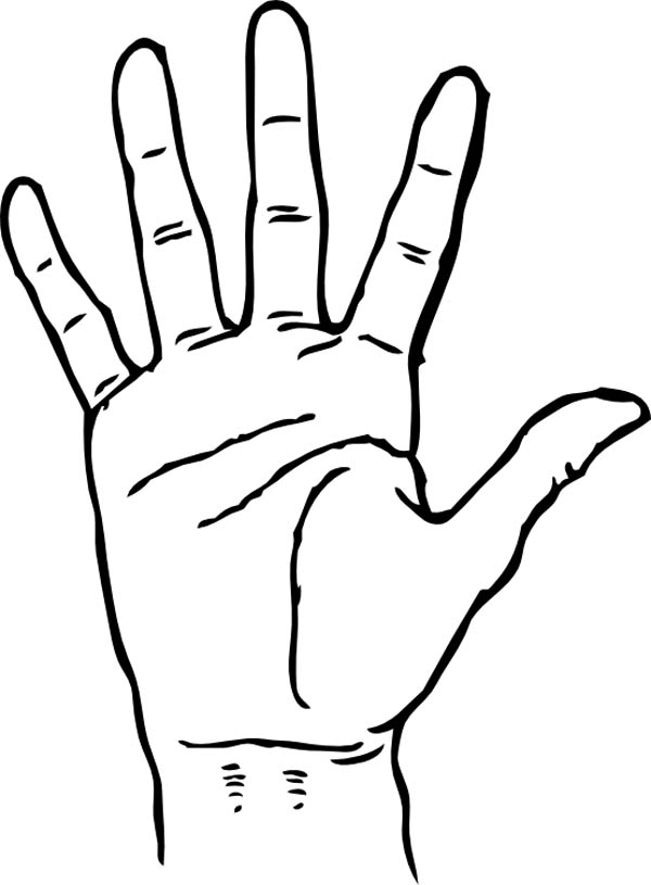Hand Palm Facing Coloring Page