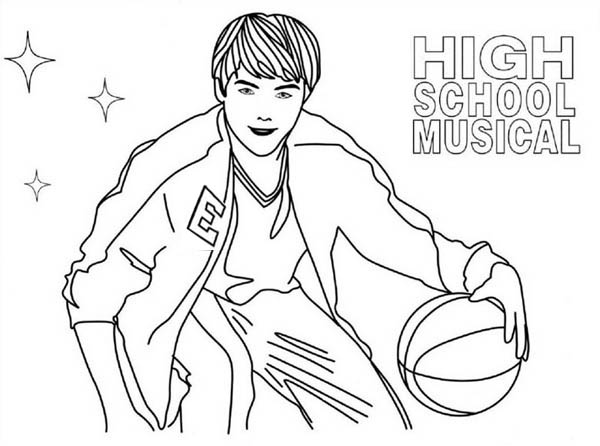 highschool musical coloring pages sharpay | High School Musical Troy Playing Basketball Coloring Page ...