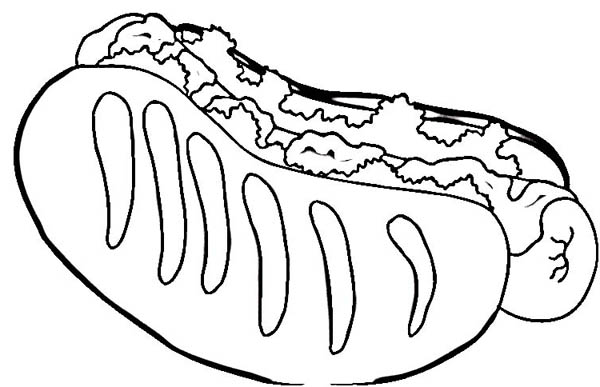 Hot Dog Coloring Page For Kids : Coloring Sky