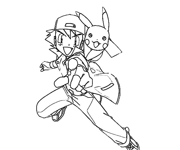 How To Draw Ash Ketchum And Pikachu On Pokemon Coloring Page - Ash-and-pikachu-coloring-pages
