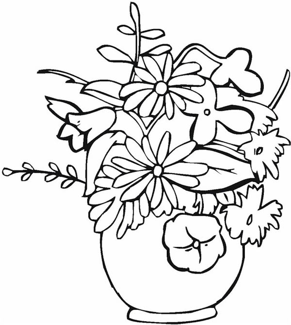 How To Draw Flower Vase Coloring Page Coloring Sky