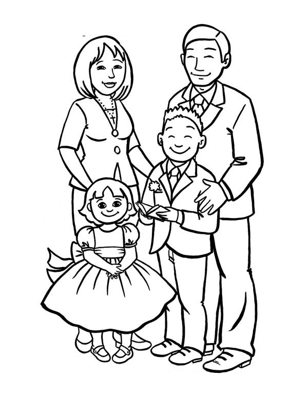 Family, : How to Draw a Beautiful Family Coloring Page