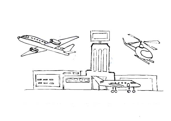airport maps coloring pages | How To Draw An Airport Coloring Page : Coloring Sky