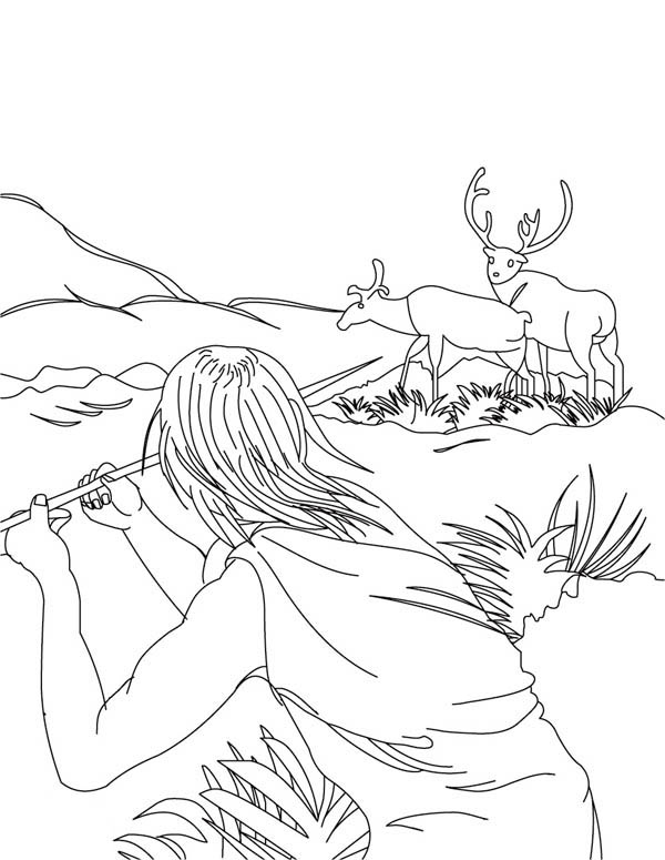 Hunter Hunting Deer With Spear Coloring Page Coloring Sky
