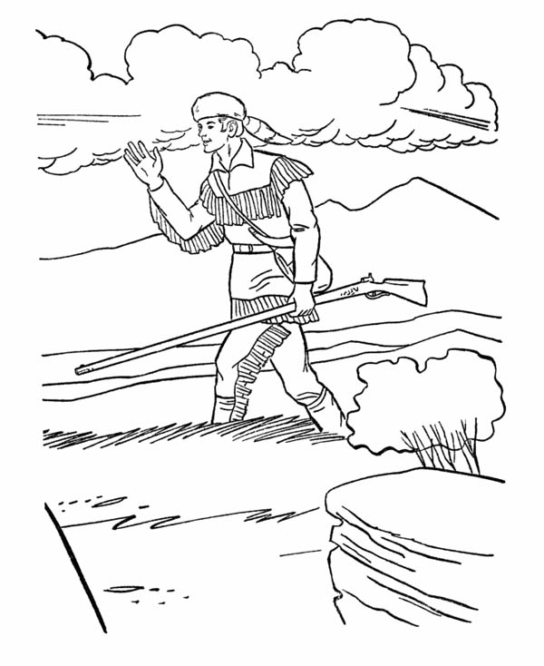 Hunter Walking On The Meadow Coloring Page Coloring Sky