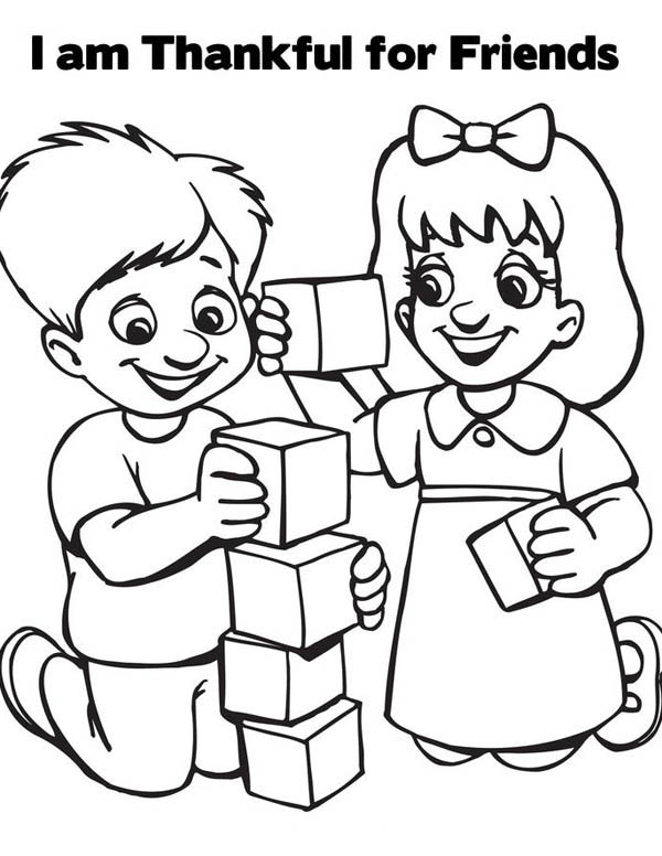 I Am Thankful For Friends On Friendship Day Coloring Page ...