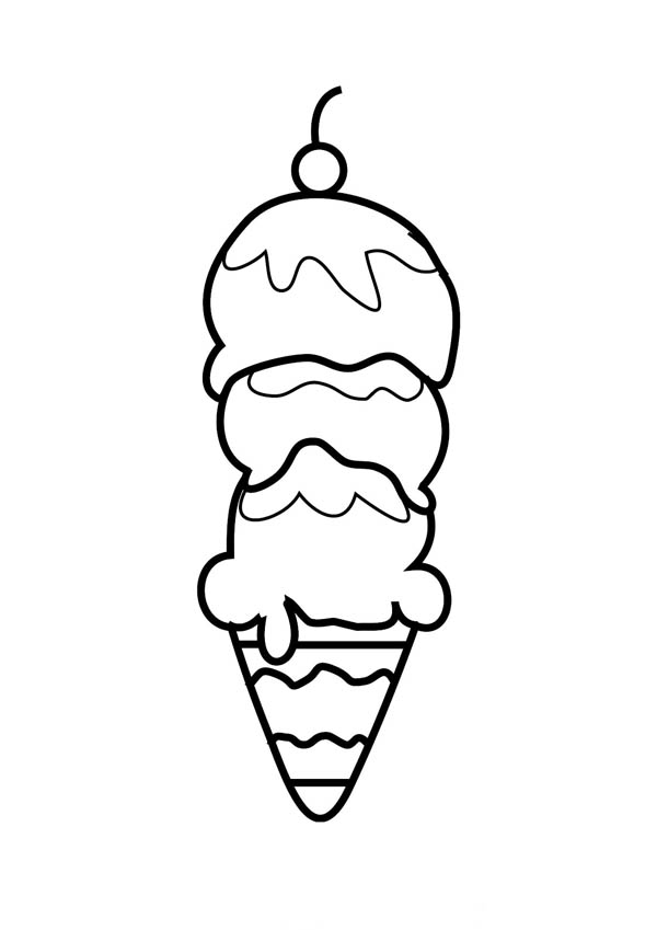 Ice Cream Coloring Page for Kids | Coloring Sky