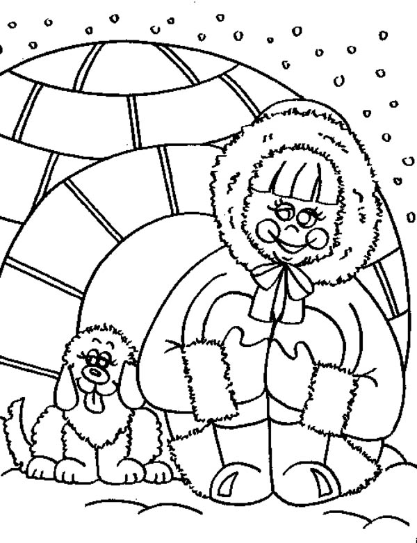 inuit and igloo house coloring page  coloring sky