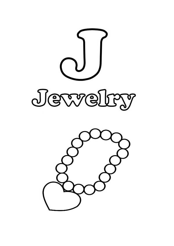 Jewlery coloring pages ~ J Is For Jewelry Coloring Page : Coloring Sky