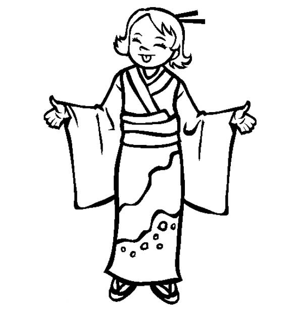 Japan Girl Wear Kimono Coloring Page Coloring Sky