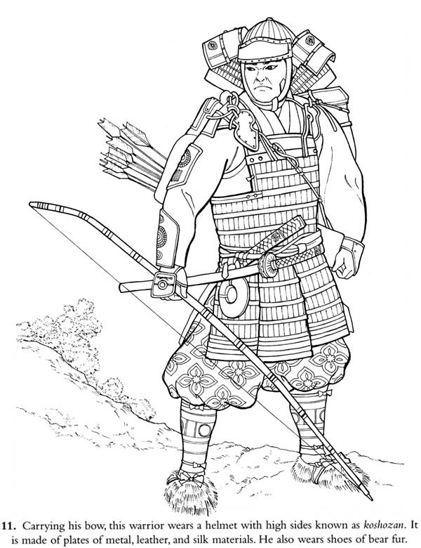 coloring pages of a samurai warrior | Japan Samurai Warrior Coloring Page : Coloring Sky