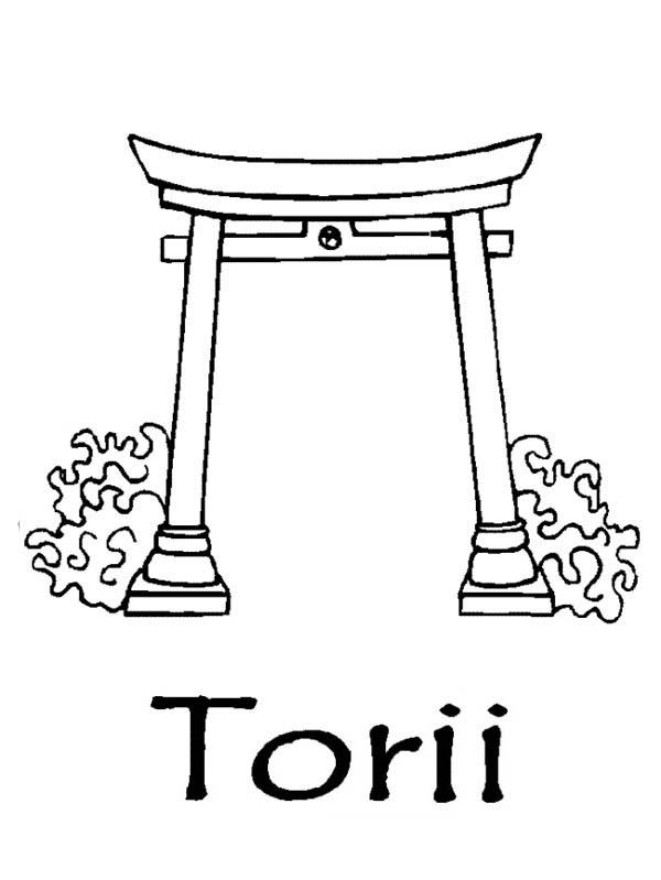 Japan Torii Coloring Page Coloring Sky