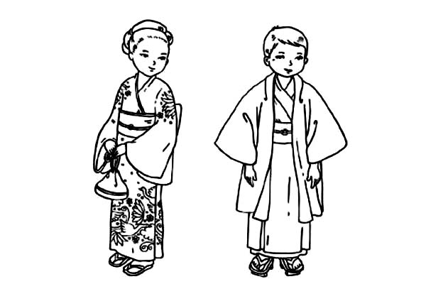 japanese children coloring pages | Japanese Children From Kids Around The World Coloring Page ...