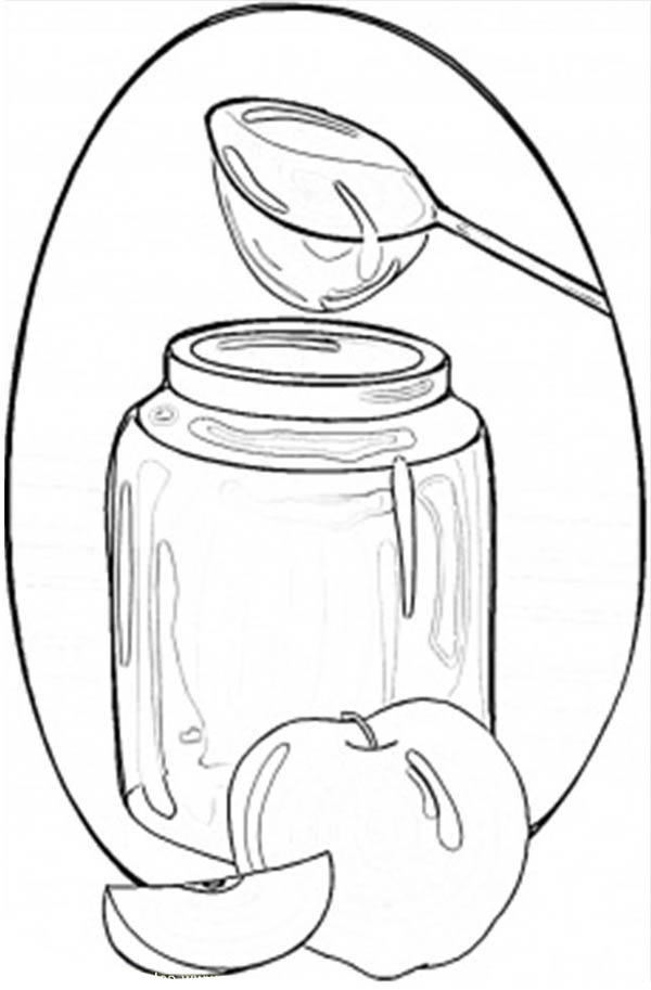 Jar Of Honey And Apples Coloring Page : Coloring Sky