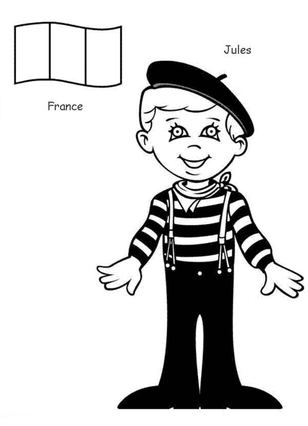 Jules French Kid from Around the World Coloring Page
